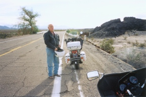 Inspecting the original Route 66 in California.