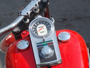 classic speedometer of a Harley Big Twin.